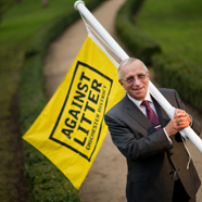 Thumbnail image of Cllr Roger Barrow supporting our Against Litter campaign