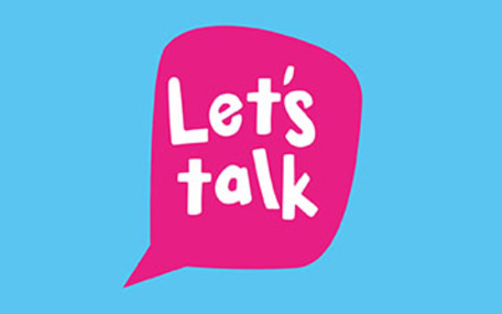 Let's Talk logo blue background