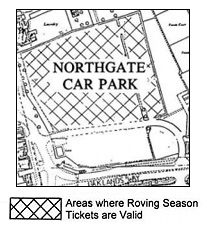 Location of x roving ticket spaces in Northgate car park