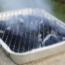 Disposable BBQ on flatstone